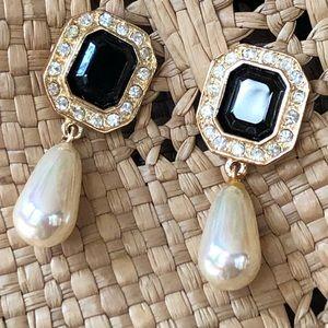 Gold & black pearl-drop earrings